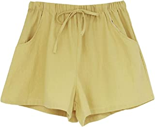 Womens Pant Shorts Wide Leg Casual High Waist Short Linen Cotton Shorts