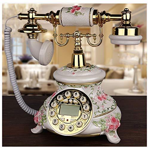 MEVIDA Teléfono Alámbrico Alámbrico Teléfono Fijo Inicio Línea terrestre Rotativo Retro Europeo Dial Blanco Bronce (Color: Blanco, Tamaño: A)