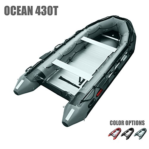 Seamax Ocean430T Commercial Grade Inflatable Boat, 14ft. x 6.4ft, 5 Pontoon Chambers, Aluminum Floor, V Bottom, Max Support 35HP Motor, Coast Guard Standard Reflective Tapes, Multi-Purpose (Dark Grey)