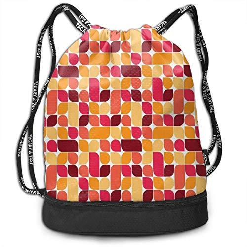 shenguang Kordelzug Rucksäcke Taschen, Bauhaus-Stil inspiriert geometrische asymmetrische Retro-Muster mit Pastellfarben Druck, verstellbar