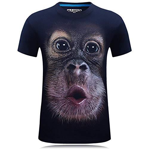 FGVBWE4R Sommer Männer 3D Print T-Shirt Lustige Orang-Utan Muster Kurzarm Oansatz Casual T-Shirt-XXXL, Blau