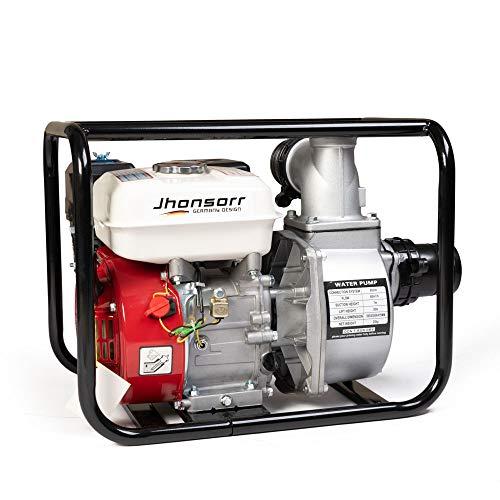 Motopompa a scoppio motore a benzina 4 tempi (60.000 l/h, 6,5 CV, 3 Pollici Raccordo, 30m Altezza massima dell'acqua, 7m Altezza di aspirazione, Avviatore a strappo)