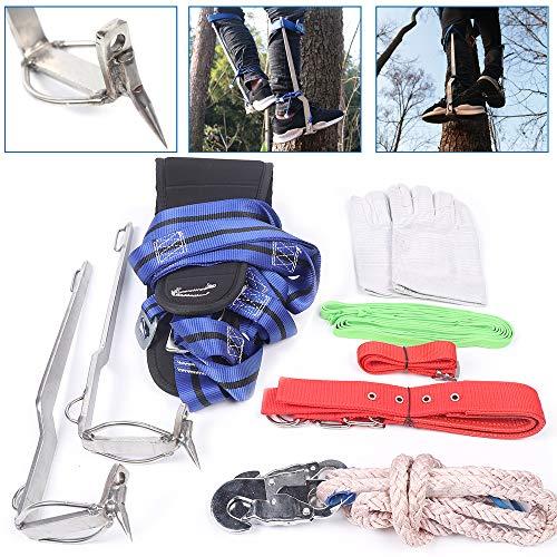 OUKANING Forst Steigeisen Baumsteigeisen Baumpflege Sicherheitsband Handschuh Schutz Kletterhilfen Forstzubehör Klettern Bäume