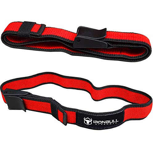 "Iron Bull Strength Blood Flow Restriction Bands (Pair) - Occlusion Training Straps – BFR Workout Wraps – Restriction Cuffs for Increased Growth Factors (Slim (1.0"" Wide x 25"" Long))"
