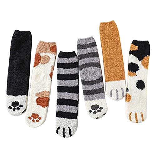 SAMTITY 6 Paare Plüsch Korallen Socken, Wintersocken Katzen Greifer Nette Starke warme Schlaf-Bodensocken, Plüsch-weiche Korallen-Vlies-Socken-weibliche Schlauch Socken warme Schlaf Ausgangssocken