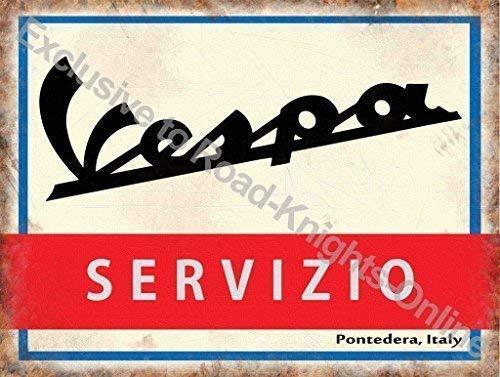 RKO Vespa Scooter Sevizio. Service Signe en Italien. Logo Blanc Rouge et Bleu, Dos Sol Old Vintage Rétro pour Maison, Maison, Garage, Magasin,Barre ou Pub. Métal/Acier Panneau Mural - 15 x 20 cm