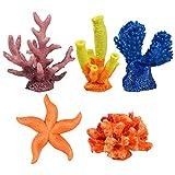Fodlon 5 Piezas Coral Artificiales, Estrella de mar Artificial Arrecife de Acuario Decoración Plantas Acuáticas Artificiales, Adornos de Coral para Acuarios