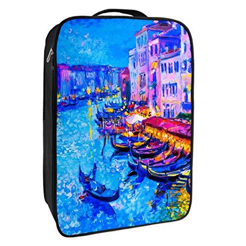 Caja de almacenamiento para zapatos de viaje y uso diario, acuarela Venecia, organizador portátil impermeable hasta 12 yardas con doble cremallera y 4 bolsillos