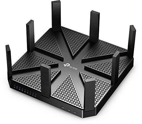 TP-Link Archer C5400 AC5400 - Router WLAN Triband Gigabit (2 x 2167 Mbit/s (5 GHz) + 1000 Mbit/s (2,4 GHz), 4 porte Gigabit LAN, 1 USB 2.0, 1 USB 3.0, MU-MIMO, Print/Media/FTP/VPN, controllo app) nero