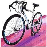 Road Bike 700C Bicycle for Women Men, 21 Speed Racing Bike, 26 inch Adult Commuting Bike with Dual Disc Brakes, Shimano Shifter, Lightweight Carbon Steel Frame (NJ/CA Warehouse)