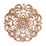 GARNECK Aplique de Madera Redondo Decorativo Onlay Aplique de Talla de Madera Onlay sin Pintar Puerta de Casa Muebles Decoración 20X20cm