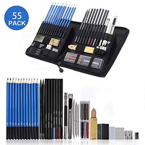 Juego de 50 lápices de dibujo con gomas de borrar para adultos - Juego de lápices de grafito profesional - Juego de suministros de dibujo artístico perfectamente presentado