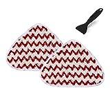ThinkTex Paño Compatibles para Aspiradora Vileda, de Repuesto Almohadillas recambio para trapeador a vapor Microfibra de Mopas Lavables(2 Recambios Rojo blanco)