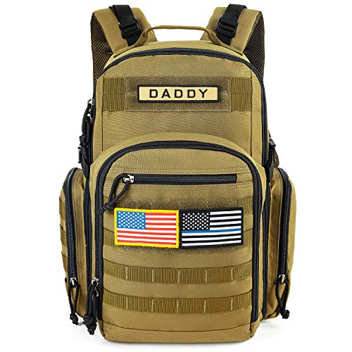 MIRACOL Diaper Bag for Dad, Military Baby Bag Backpack for Men Multifunction Travel Backpack, Insulated Bottle Pouch, Military Diaper Bag for Men and Woman Unisex Toddler Gear with Flag Patch