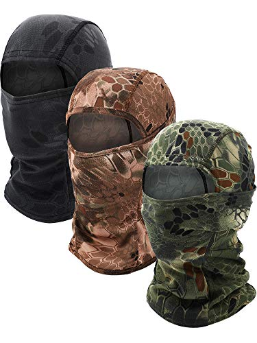 3 Pieces Balaclava Mask Motorcycle Windproof Camouflage Fishing Face Cover (Color Set 1)