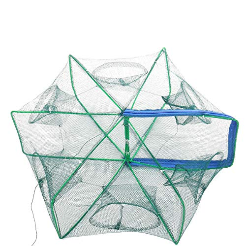 VHGYU Angelnetze Fischernetz Automatische Klapp 6 Loch Hexagon Fischernetz Fisch-Garnele-Blockier Mesh-Grün Angeln Efficiency Hoch (Color : Green, Size : 40cm)