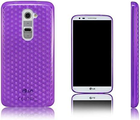 Xcessor Diamond Flexible TPU Gel Case for LG G2 Purple Transparent product image
