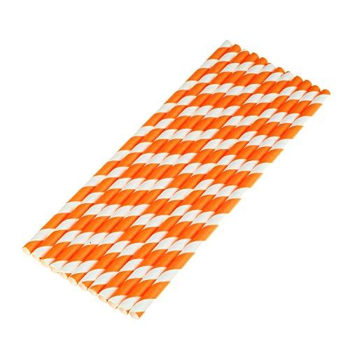vLoveLife Lot de 100 pailles en papier biodégradables à rayures orange et blanc pour la Saint-Valentin, un mariage, une fête d'anniversaire, une fête prénatale