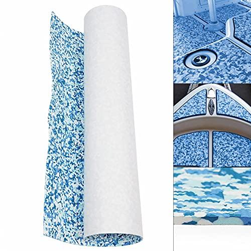DENEST 94.5'× 35.4' EVA Foam Faux Teak Flooring Mat,Self-Adhesive Thick Non-Slip Boat Decking Sheet Pad Boat Flooring for Marine Boat Yacht Swimming Pool (Blue White Camouflage)
