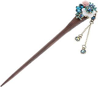 F Fityle Wooden Crystal Hair Stick Clip Pins Chopsticks Bun Holder Metal Chain Tassel Hairpin Barrette Retro Chinese Style...