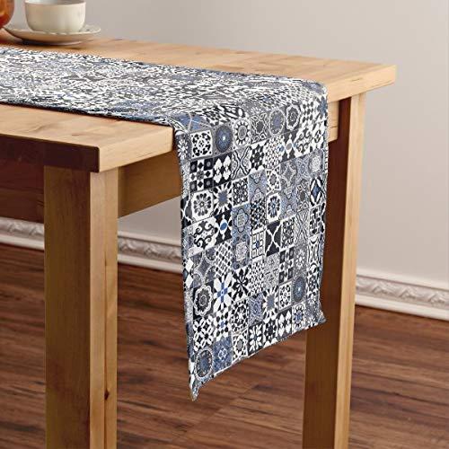 CICIDI Camino de mesa corto de azulejos marroquíes, negro, azul, gris, mantel para mesa, para fiestas, cenas, vacaciones, cocina, 13 x 70 pulgadas