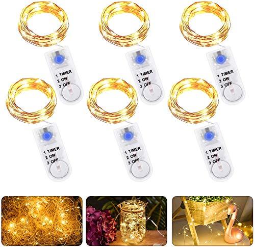 6 Piezas Cadena de Luces con Pilas, 20 LEDs 2M Alambre de...