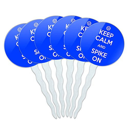 Set of 6 Cupcake Picks Toppers Decoration Keep Calm and P-Y - Spike On Volleyball - Keep Calm and