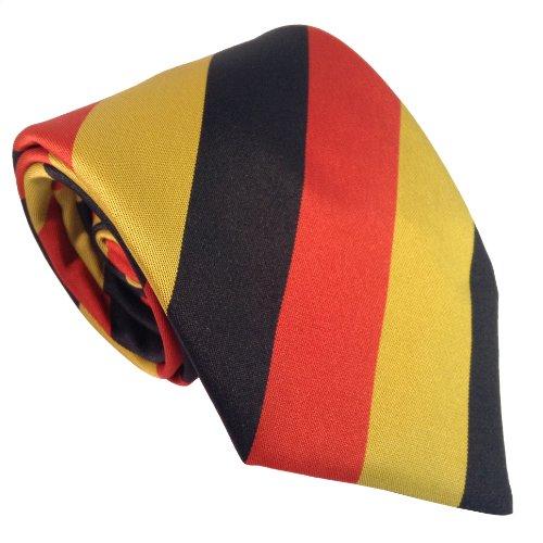 Great British Tie Club Herren Deutschland Staatsflagge Streifen Krawatte - Schwarz, Rot & Gold
