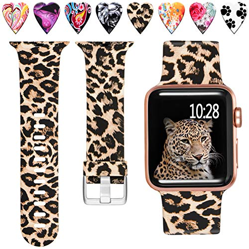Laffav Compatible with Apple Watch Band 42mm 44mm iWatch SE & Series 6 & Series 5 4 3 2 1 for Women Men, Classic Leopard, S/M