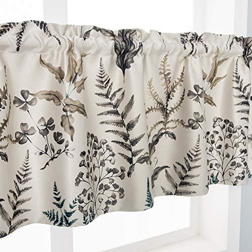 SNLARFOX Kitchen valances for Windows,Plants Printed Valance for Kitchen Curtains, Rod Pocket Valance Curtains for Kitchen Living Room, W52xL18, One Panel (Brown, 52W18L&One Panel)