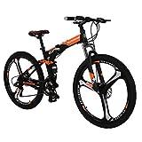 "Eurobike OBK G7 Folding Bike 21 Speed Full Suspension Mountain Bicycle 27.5"" Daul Disc Brake Mens Bikes Foldable Frame (Orange 3 Spoke Mag Wheels)"