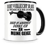 Samunshi Ich denke an meine Geige Musik Instrument Tasse Kaffeetasse Teetasse Kaffeepott Kaffeebecher Becher Geige