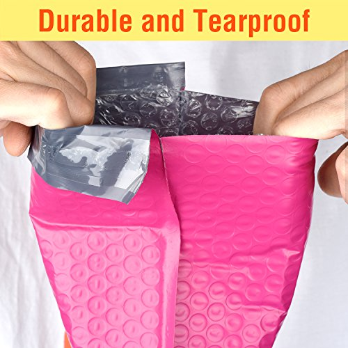 Fu Global 4x8 Inch Poly Bubble Mailer Pink Self Seal Padded Envelopes Pack of 50