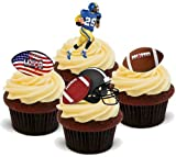 AMERICAN FOOTBALL MISCHUNG - 12 essbare hochwertige stehende Waffeln Kuchen Toppers - AMERICAN FOOTBALL MIX