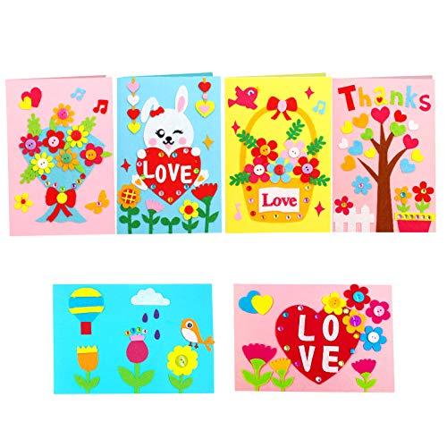 BELIOF 6 Stile Papier Grußkarten Bastelset mit Vlies Zubehörteilen Selbst Machende Geschenkkarten Kinder Handmade Card Kit Persönliche Basteln Karten zum Geburtstag Muttertag