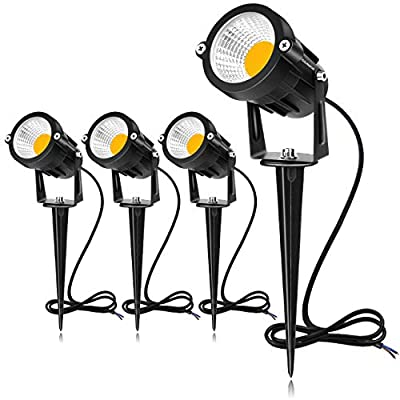 SUNVIE 12W LED Landscape Lights Low Voltage (AC/DC 12V) Waterproof Garden Pathway Lights Super Warm White (900LM) Walls Trees Flags Outdoor Spotlights with Spike Stand
