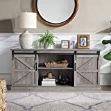 BELLEZE Vintage Farmhouse Sliding Door Television Console Wood Mental Entertainment Center for TVs Up to 65' with...
