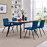 Duhome Upholstered Velvet Dining Chairs Reception Chairs, Tufted Accent Living Room Chairs with Metal Legs for Living Room/Kitchen/Vanity Set of 4 Blue