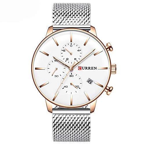 CURREN 8339 Herren Quarzuhr Edelstahlband Mode Multifunktions Armbanduhr 3ATM Leuchtanzeige Chronograph Kalender Datum Uhren