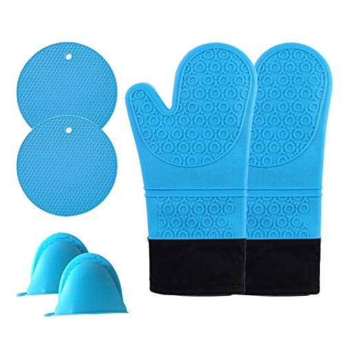 Oven Mitts,Long Silicone Oven Mitts and Pot Holders Set,Can Touch 500°F Oven Heat-Resistant Baking Gloves hot Pads,Quilted Liner, Great for Kitchen/Baking/Cooking/BBQ, Blue, Pack of 6