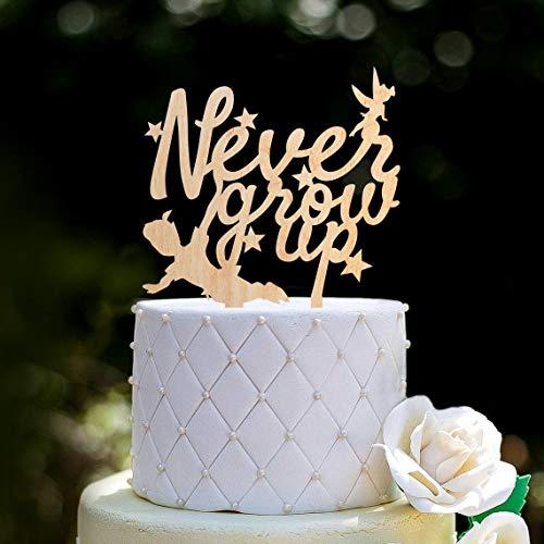 Peter Pan Campanilla Feliz Cumpleaños Cake Topper, Peter Pan Tema nunca crecer Cake Topper, Peter Pan Neverland Cumpleaños Cake Topper,0192