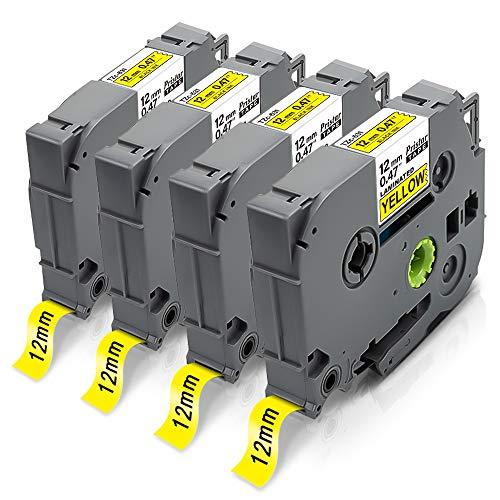 4X Pristar 12mm x 8m Compatibile Nastri Ricambio per Etichette per Brother TZe-631 TZe631 TZ-631 Tz Nero su Giallo per Brother P-Touch Cube Plus PT-H105 P300BT H100LB 1000 P700 H110 D400 D210VP
