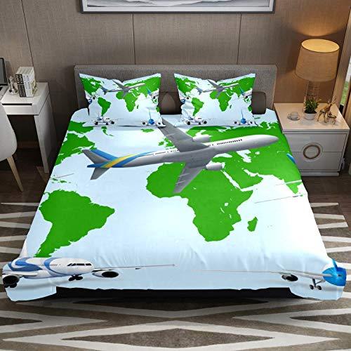 Set copripiumino per letto king size e confortevole, facile da pulire, in microfibra, con motivo aereo e mappa del mondo, 3 pezzi