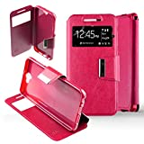 Housse Coque Etui HTC One A9 Folio fenêtre Simili Cuir Protection intégrale- Rose Fushia