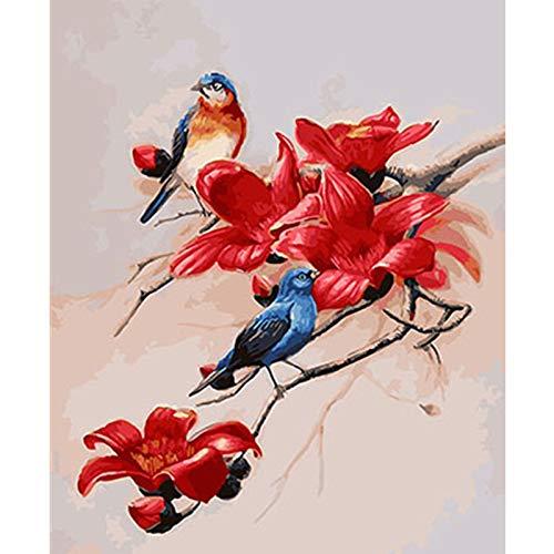 yaoxingfu Kein Rahmen Das Haus des Vogels, das Wandkunst auf Ölgemälde-Leinwand verziert 30x45cm