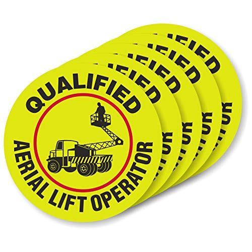 """SmartSign""""Qualified Aerial Lift Operator"""" Pack of 5 Hard Hat Labels   Retro-Reflective, 2"""" Circle"""