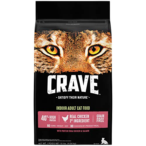 CRAVE Grain Free Indoor Adult High Protein Natural Dry Cat Food with Protein from Chicken & Salmon, 10 lb. Bag