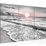 Runa Art Puesta De Sol Playa Cuadro Murales Sala XXL Gris Rosado Paisaje 120 x 80 cm 3 Piezas Decoración de Pared 023731b