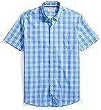 Goodthreads Men's Slim-Fit Short-Sleeve Gingham Plaid Poplin Shirt, Blue/Blue, Medium