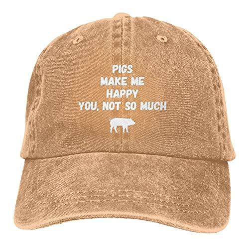 Gymini Pigs Make Me Happy You Not So Much Hats - Gorras de béisbol lavables de algodón ajustables para hombre y mujer